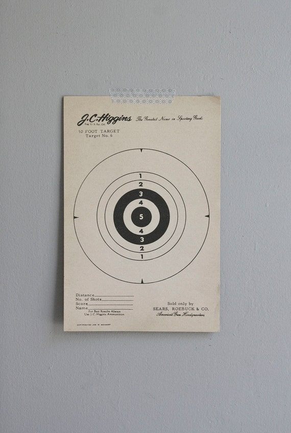 vintage paper targets / set of five