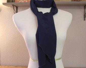 Long  Scarf - Navy Blue Scarf - Silky Satin Peachskin - Navy Blue Peachskin - Dressy Scarf