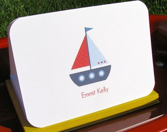sailboat stationery, nautical note cards for boys - whale note cards - children's custom stationery - kid's stationery