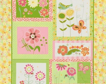 Blossom Lane by Wendy Bentley for Timeless Treasures, one  23x44 inches panel quilting cotton fabric-