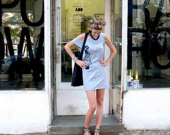 Underwater Kate tshirt dress - eco-friendly black ink screenprint on heather grey cotton - sizes S, M, L