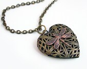 Bronze Heart Scent Locket Necklace Jewelry - Copper Dragonfly