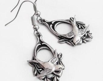 Silver Swallow - Dangle Earrings Jewelry Jewellery