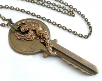 Key Necklace Handmade Jewelry - Goddess Key Pendant