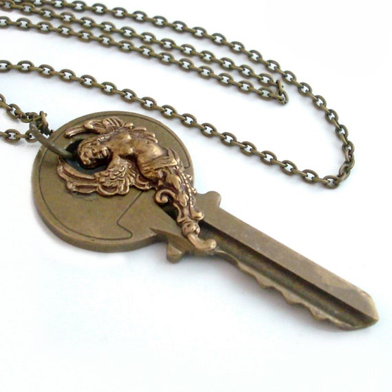 Key Necklace Handmade Jewelry - Goddess Key Pendant