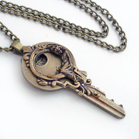 I'll Give You the Moon - Vintage Key Pendant Necklace Jewelry