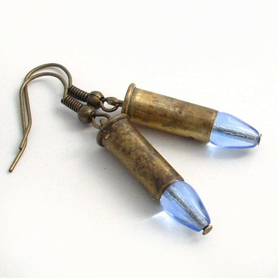 Bullets and Blues - Tiny Brass Bullet Earrings