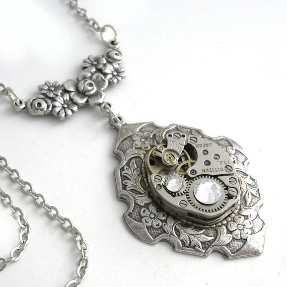 Silver and Crystal - Steampunk Necklace Handmade Jewelry Pendant - by Gypsy Trading Company
