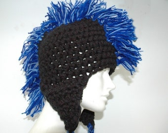Black Earflap Hat with Blue Mohawk Handmade Gift Stocking stuffer for Boys and Girls Women and Men