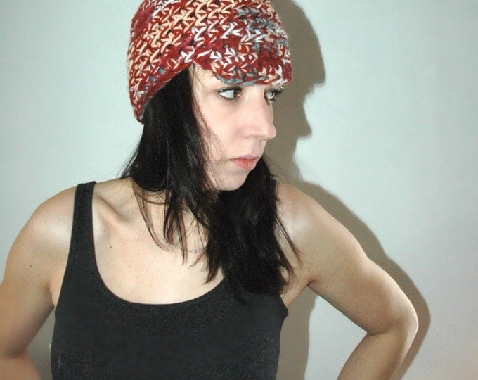 SALE- Red Blue and Rust Mix Billed Beanie  Newsboy Hat