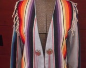 1980s Colorful Cropped Southwestern Print Blazer Jacket Fringe Shoulders Woven Cotton Med