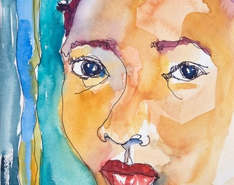 Art Painting Abstract Watercolor Portrait Black Jamaican Girl Cornrows Watercolor Art  Print