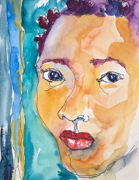 Art Painting Abstract Watercolor Portrait Black Jamaican Girl