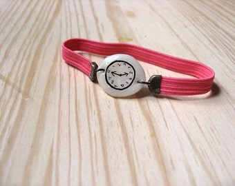 NEON PINK Fake watch with elastic watchband. One-of-a-kind handmade Porcelain bracelet. Toy clock.