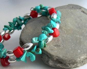 Red Coral & Turquoise Bracelet, Stone Memory Wire Bracelet, Southwestern Jewelry