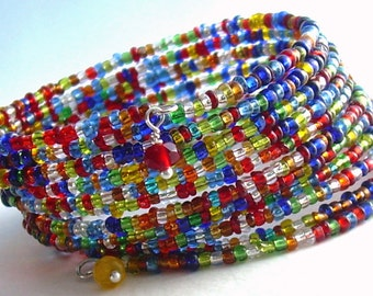 Beaded Wrap Bracelet, Rainbow Jewelry, Colorful Memory Wire Cuff Bracelet, Canada