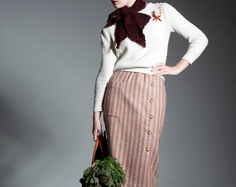Pencil Skirt - 'Pine Needles and Pinwheels' skirt in Tweed Stripe