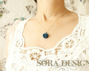Tiny Blue Rose Necklace, midnight blue rose pendant, navy rose charm necklace, bridesmaid jewelry