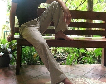 Men's 100 percent hemp pants..Ivory and available in all colour  and all sizes [P 1434]