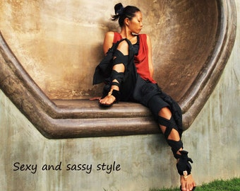 Swirl Funky harem pants...Mix silk Black (3 sizes M,L,XL)