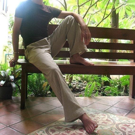 Men's 100 percent hemp pants...Natural  (All sizes)