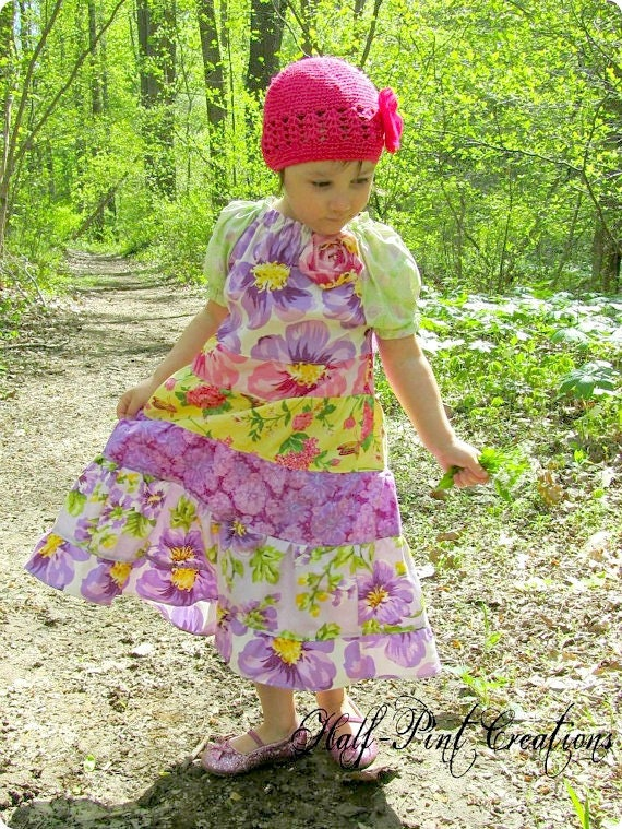 Bitty Pieces Maxi Peasant Dress Available in Sizes Newborn through 6X