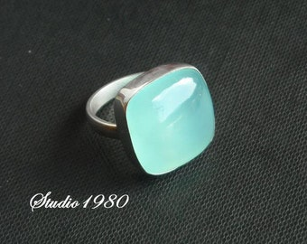 Cushion cut ring - Aqua ring - Chalcedony ring - Bezel ring - Square ring - Cushion ring - Custom ring - Gift for her