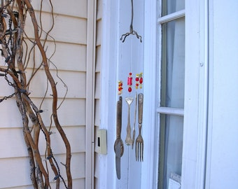 "WINDCHIMES Wind Chimes  made with REcYcLeD REpurposed anTiQue SILVERWARE with 1"" food can beads and red and yellow  glass beads"