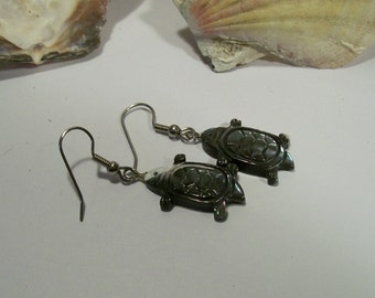 Turtle Earrings Mother Of Pearl Sea Turtle Earrings Seashore Shell Turtle Earrings