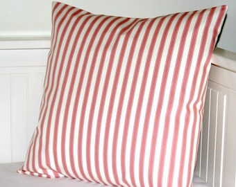dusky rose pink and white ticking stripe cushion cover, decorative pillow cover 16 inch