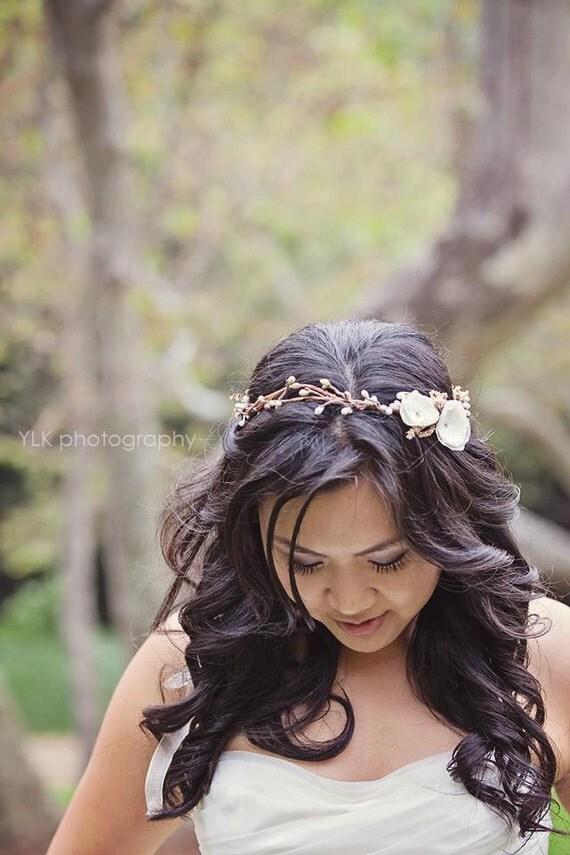 floral headband - bridal halo