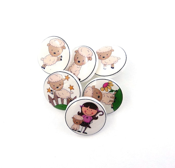 6 SMALL Mary Had a Little Lamb Buttons. 6 Handmade Buttons. Shank Sewing Buttons.