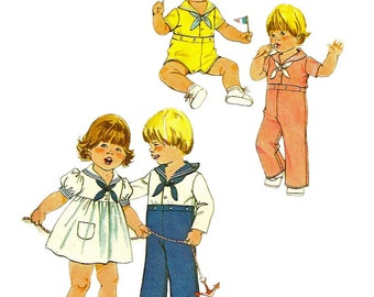 1970s Simplicity 8813 Toddlers Sailor Dress Top Pants  Shorts Pattern Boys Girls Vintage Sewing Pattern Size 1/2  1 Breast Chest 19 20