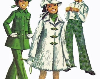Simplicity 8478 1960s Girls Mod Mini Coat, Bell Bottoms and Hat Pattern Childs Vintage Sewing Pattern Size 6  Breast 25 UNCUT