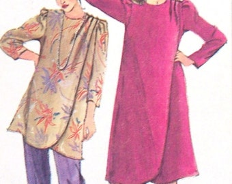 Simplicity 5726 1980s Asymmetrical  Wrap Dress Tunic Pants Pattern Special Occasion Womens Vintage Sewing Pattern Size 18 1/2 Bust  41 UNCUT