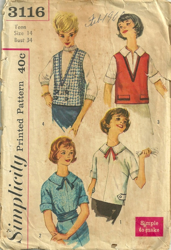 Simplicity 3116 1950s  Teen  Blouse and Vest Pattern Simple to Make Womens Vintage Sewing Pattern Size 14  Bust 34