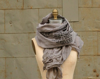 017 gray cotton text gone awry scarf