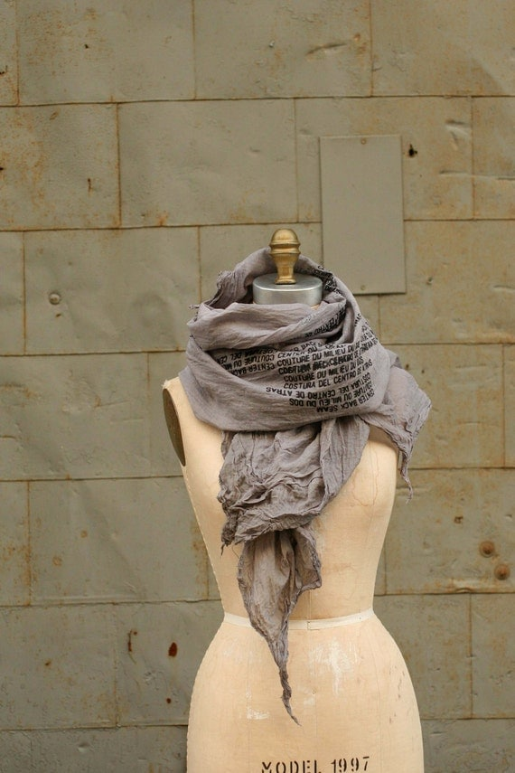 017 gray hand printed scarf cotton text gone awry scarf