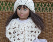 Doll Clothes, Crochet Doll Cape and Hat, American Girl Doll Clothes, Ivory Crochet Doll Cape and Hat, Fits American Girl and 18 inch Dolls