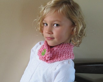 Girls Neck Warmer, Pink Neck Warmer, Pink Scarf with a Lime Green and Pink Button, Crochet Neck Wrap, Little Girls Scarf
