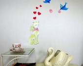White Cat with bluebirds and hearts wall decal – Medium