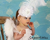 White Baby Mini Top Hat Fascinator Headband - Flower Girl Top Hat - Wedding Hat - Lace Flower Bay Hat with Feather, Rhinestone