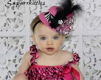 Zebra/Hot Pink Baby Mini Top Hat - Baby Flower Hat/Headband Fascinator - Mini Top Hat - Toddler/Girl Feather Top Hat for Pageant, Photo Prop