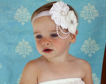 Vintage White Lace Baby Headband - Pearl/Rhinestone Baby Headband - Toddler/Girl Vintage Lace White Rosette Headband Photo Prop Pageant