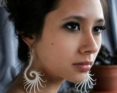 Heliplume Large Earrings with Soft White Spikes