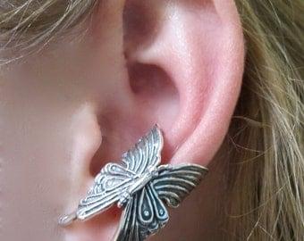 Silver Ear Cuff Butterfly Ear Cuff Silver Butterfly Earring Butterfly Jewelry Insect Jewelry Silver Butterfly Butterfly Wings Wing Jewelry