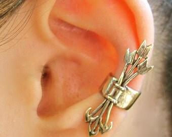 Arrow Ear Cuff Bronze Quiver And Arrows Ear Cuff Arrow Jewelry Archery Jewelry Arrow Earring Non Pierced Earring Bronze Earcuff Cupid Art