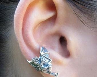Dragon Ear Cuff Chevron Silver - Dragon Jewelry Dragon Earring - Game of Thrones Inspired Jewelry Steampunk Earring Minimalist Ear Cuff