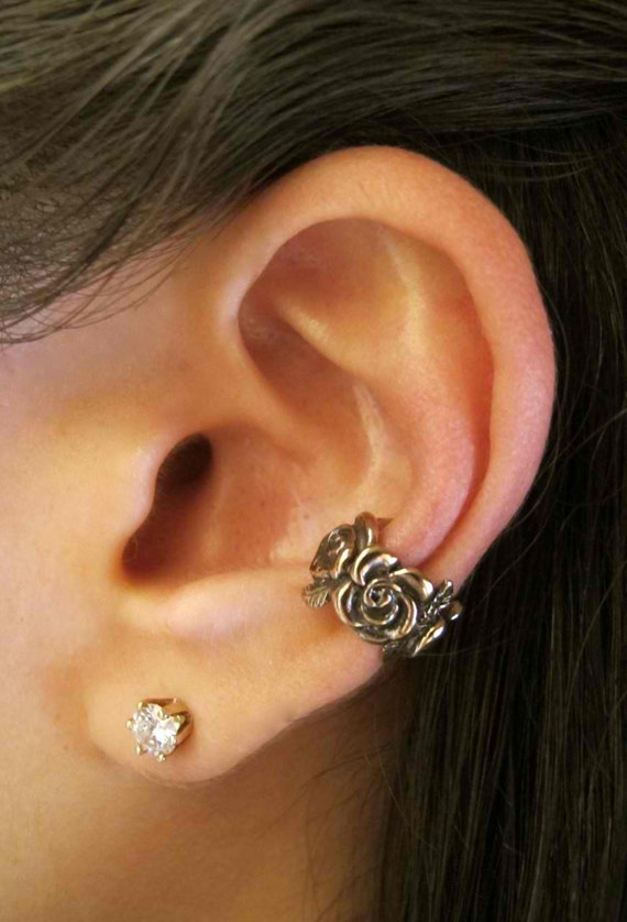 Ear Cuff Bronze Rose Ear Cuff Rose Jewelry Non-Pierced