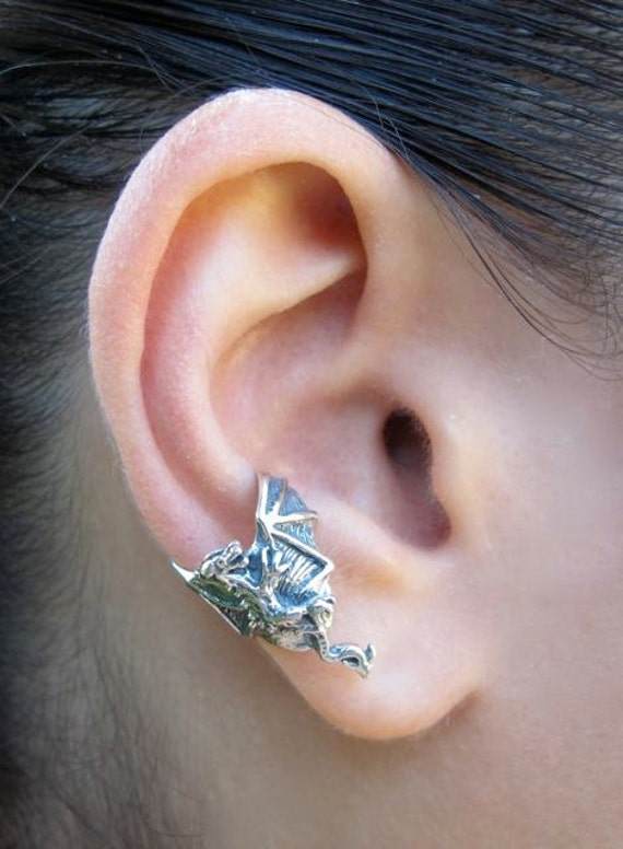 Dragon ear cuff chevron silver dragon jewelry dragon earring - Game of thrones dragon ear cuff ...